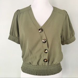 Olive Green Asymetrical Button Blouse Puff Sleeve